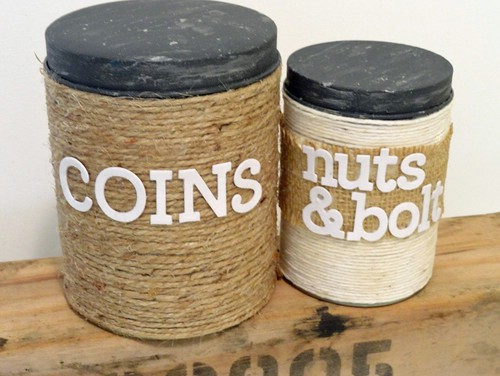 Burlap and twine containers - 50 Decorative Rustic Storage Projects For a Beautifully Organized Home