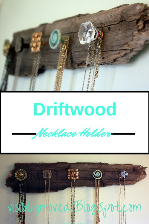 Driftwood necklace holder - 50 Decorative Rustic Storage Projects For a Beautifully Organized Home