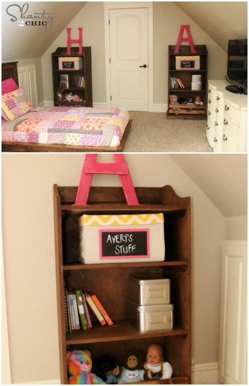 Pottery Barn-inspired bookcase - 50 Decorative Rustic Storage Projects For a Beautifully Organized Home