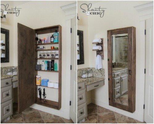 Bathroom Cabinet With Mirror   50 Decorative Rustic Storage Projects For A  Beautifully Organized Home