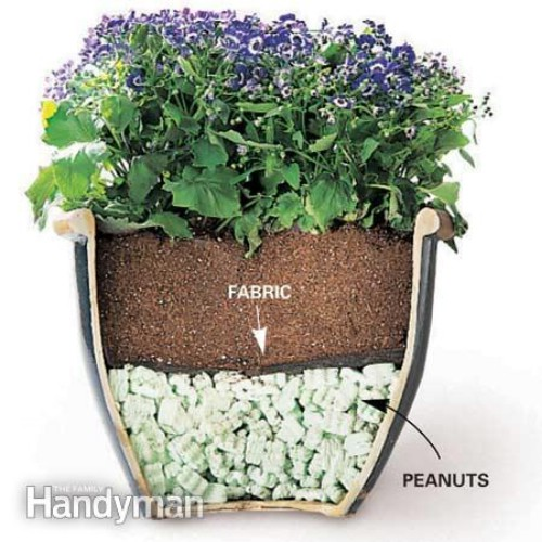 Reduce the weight of a heavy outdoor plant pot.