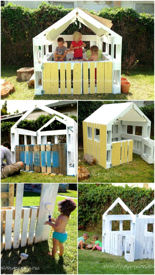 35 ingenious outdoor pallet projects for all types of for Building a wendy house from pallets