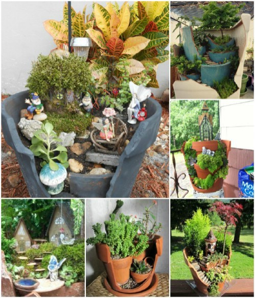 Use broken pots to create amazing fairy gardens.