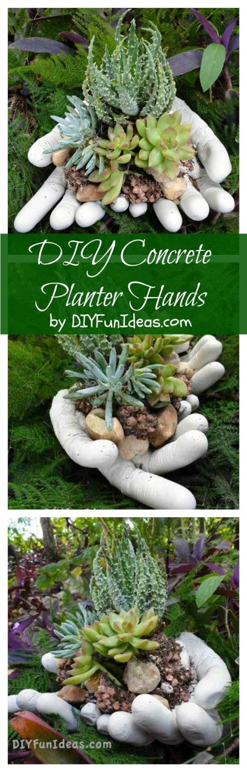 Create concrete hand planters from scratch.
