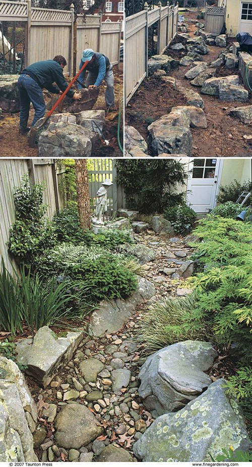 Create a dry creek garden.