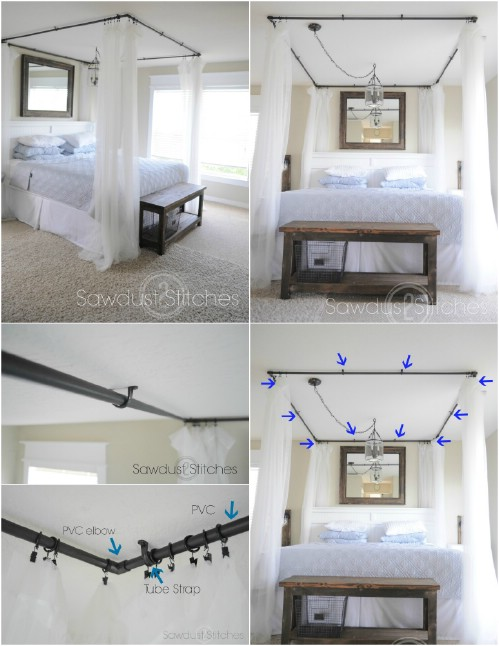 PVC Pipe Curtains & Sleep in Absolute Luxury with these 23 Gorgeous DIY Bed Canopy ...