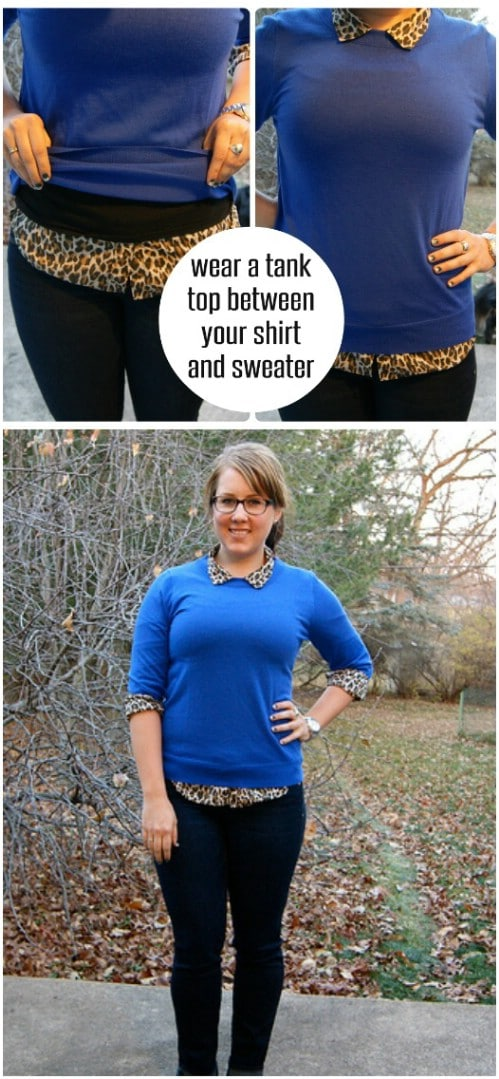 Sweater over Button-Up Shirt