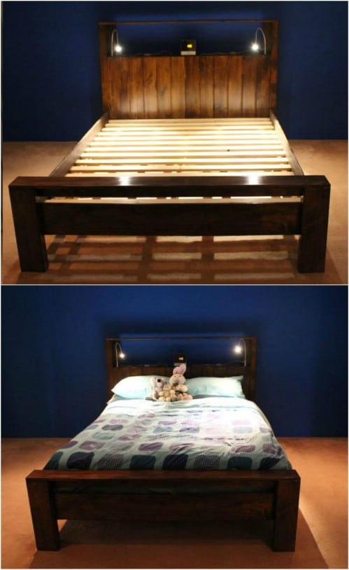 21 diy bed frame projects sleep in style and comfort - Cool queen bed frames ...