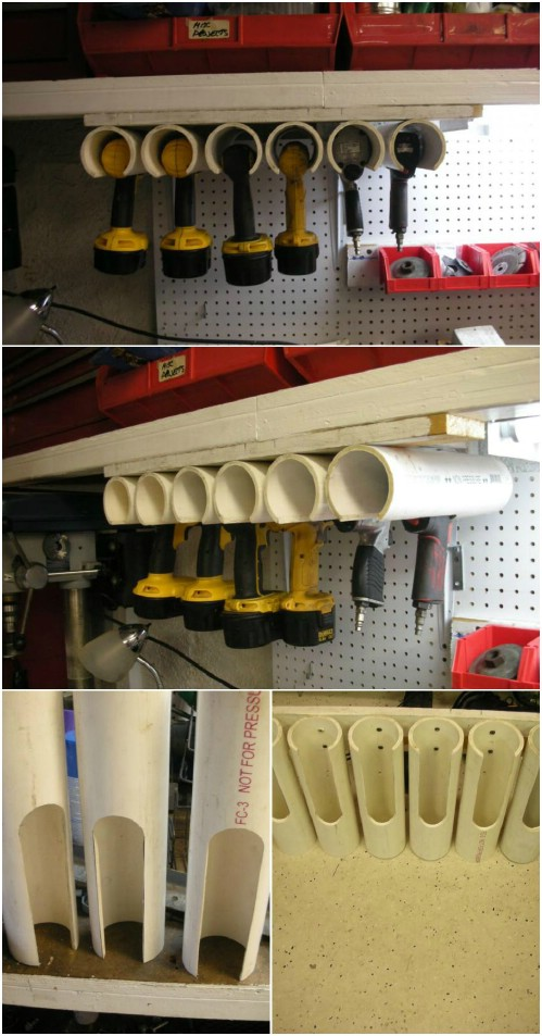 25 life changing pvc pipe organizing and storage projects diy crafts power tool holders solutioingenieria Images
