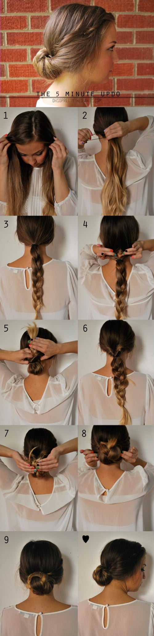 20 gorgeous 5 minute hairstyles to save you some snooze time diy braided bun baditri Image collections