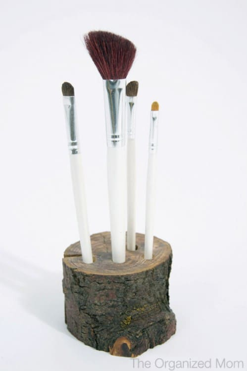 wooden brush stand