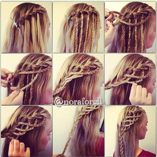 Waterfall hair braid tutorial best waterfall 2017 easy waterfall braid tutorial popsugar for long straight hair ccuart Images
