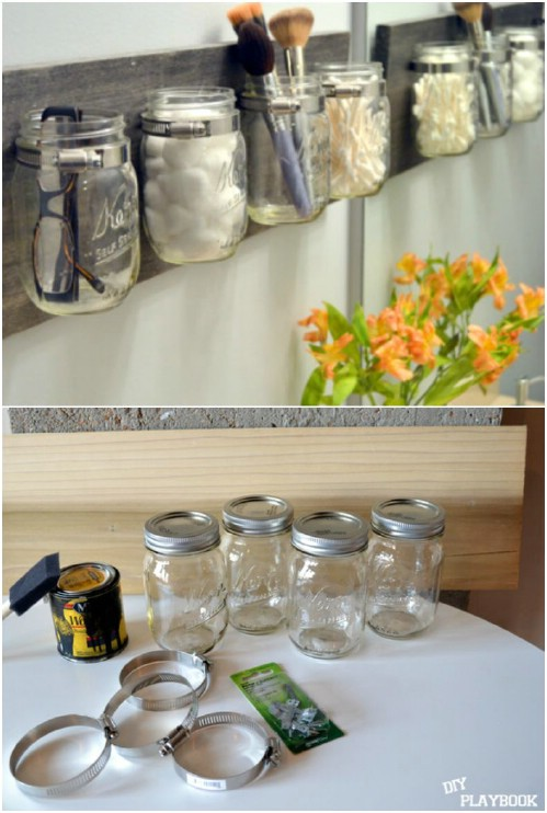 21 diy makeup organizing solutions thatll change your whole beauty mason jar wall mount solutioingenieria Gallery