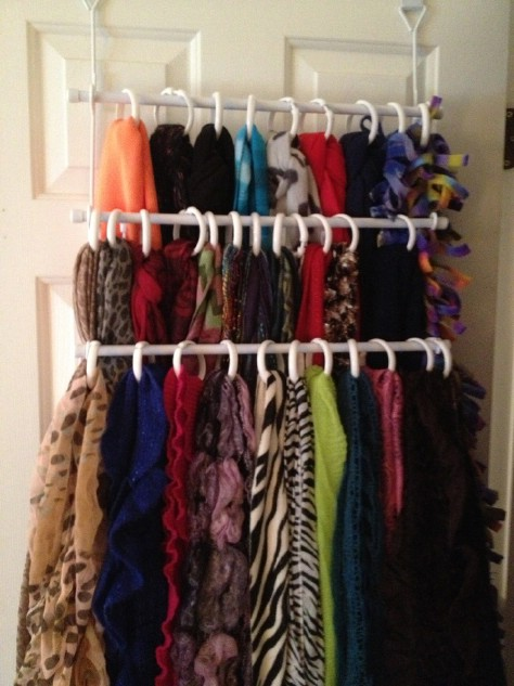 Organize your scarves with shower curtain rings.