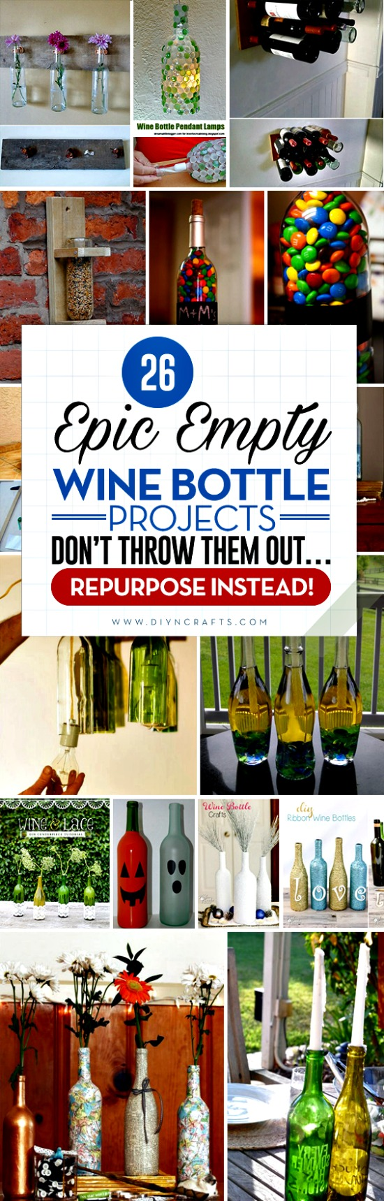 26 Epic Empty Wine Bottle Projects – Don't Throw them Out… Repurpose Instead! - Wine bottles come in all different shapes, sizes and hues, and those diverse qualities make them such versatile objects when it comes to upcycling or repurposing. I was rather taken aback when I came to realize just how many interesting and creative ways one can use these empty bottles, be it for something functional or pure décor.