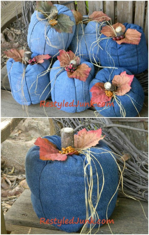 Just in time for Halloween—recycled denim pumpkins!