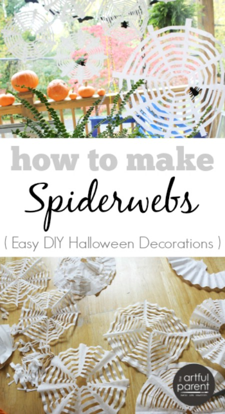 coffee filter spiderwebs - Diy Halloween Decorations For Kids