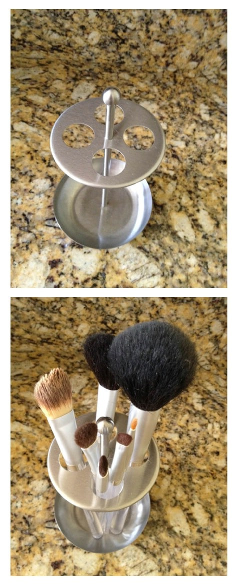 Store makeup brushes in a toothbrush holder.