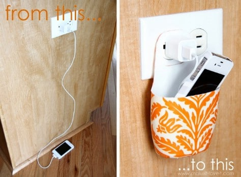Turn a used lotion bottle into a beautiful holder for charging a cell phone.