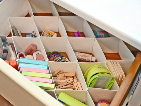 Try using drawer dividers.