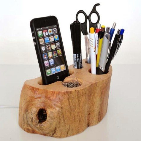Create an organizer out of a tree stump.