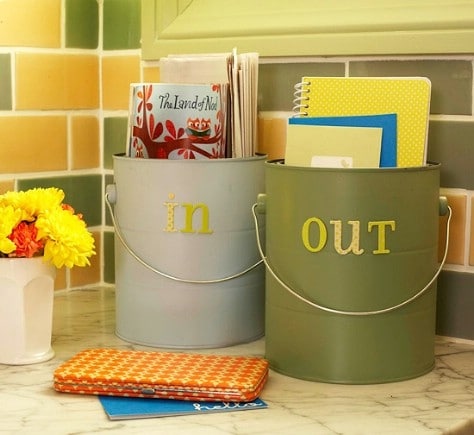 Use pails for incoming and outgoing mail, tasks, etc.