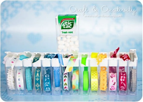 Use tick Tic Tac containers for ribbons.