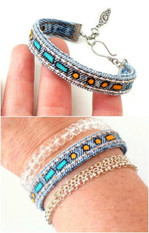 Look at this cool Morse code denim bracelet.