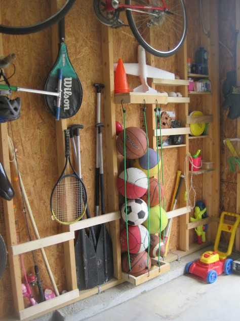 Try some bungee cord storage.