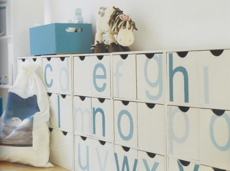 Label cubbies or bins with letters so children can learn.
