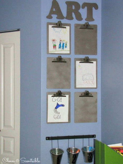 Display your kids' artwork on clipboards.