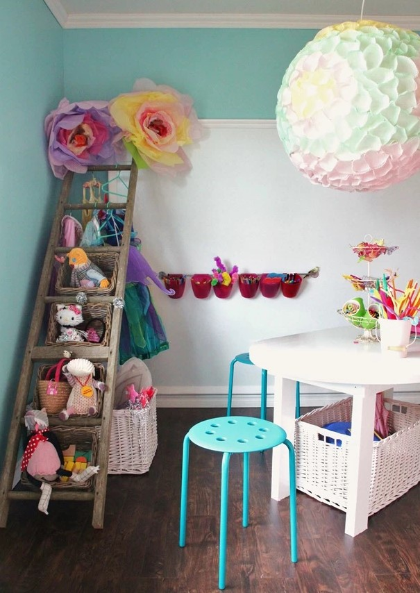 Use a ladder with baskets to store stuffed animals and other toys.