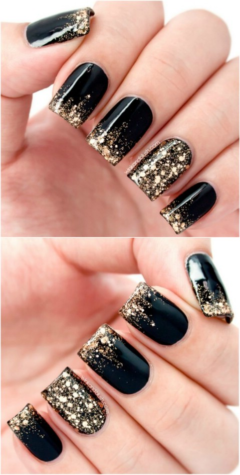 Black and gold glitter - Top 100 Most-Creative Acrylic Nail Art Designs And Tutorials - DIY