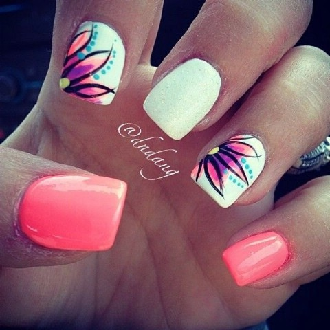 Top 100 most creative acrylic nail art designs and tutorials diy simple bright flower designs prinsesfo Image collections