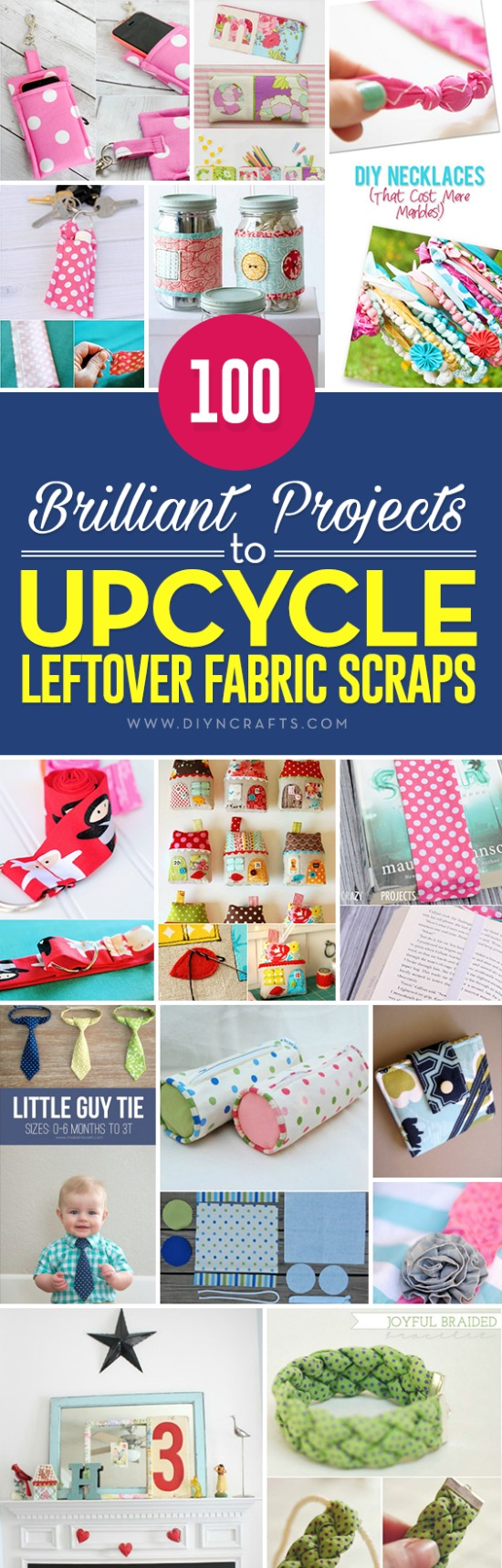 100 Brilliant Projects to Upcycle Leftover Fabric Scraps - If you love sewing, then chances are you have a few fabric scraps left over. You aren't going to always have the perfect amount of fabric for a project, after all. If you've often wondered what to do with all those loose fabric scraps, we've got quite a treat for you. So with the leftover fabric from those adorable Halloween costumes or your other DIY clothing projects, we'll show you how to create some really great bags, wallets, and so much more.