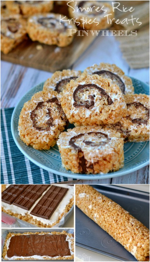 S'mores Rice Krispie Treat Pinwheels