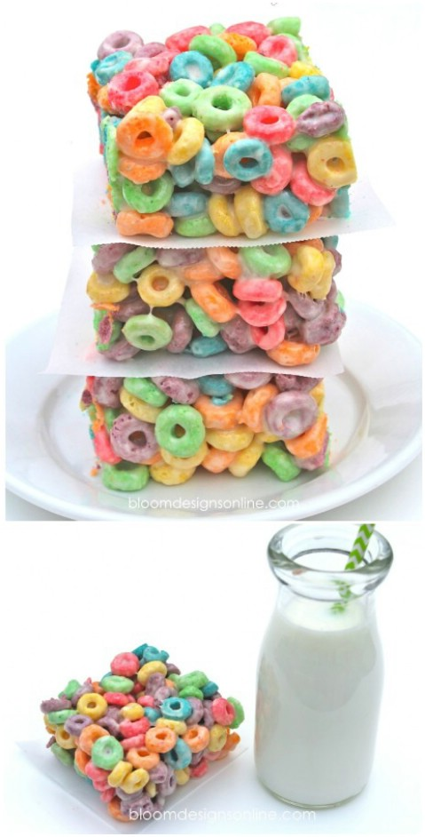 Fruit Loop Krispie Bars