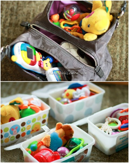 Prepare travel boxes with toys for car trips.