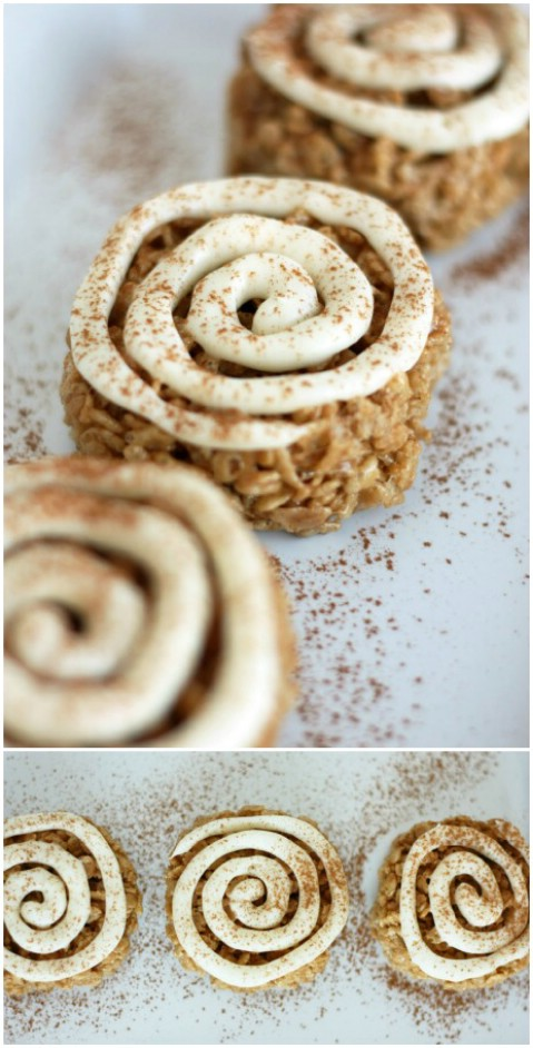 Cinnamon Roll Rice Krispie Treats