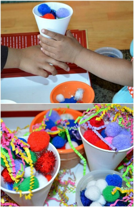 Make sundaes out of pom pons.
