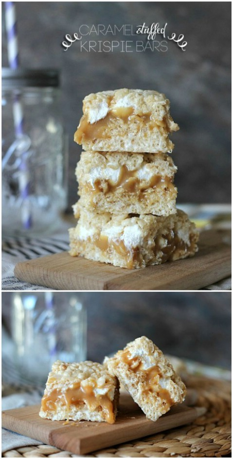 Caramel Stuffed Rice Krispie Bars