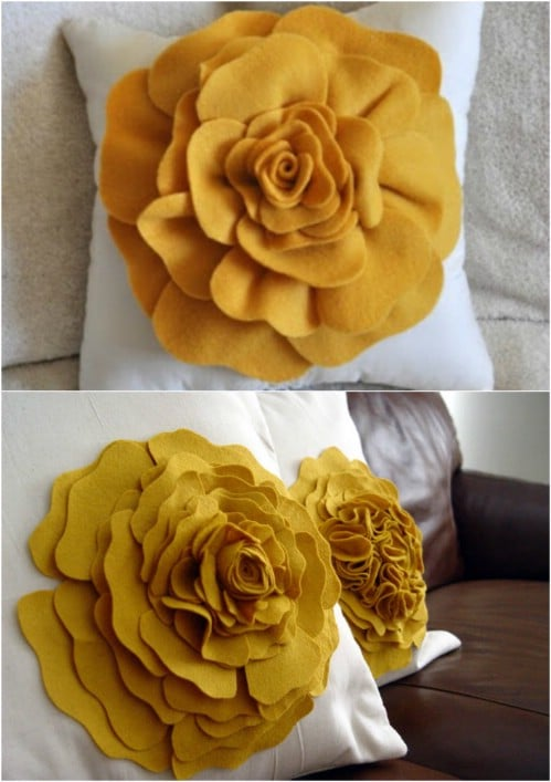 Fabric Flower Accent Pillow