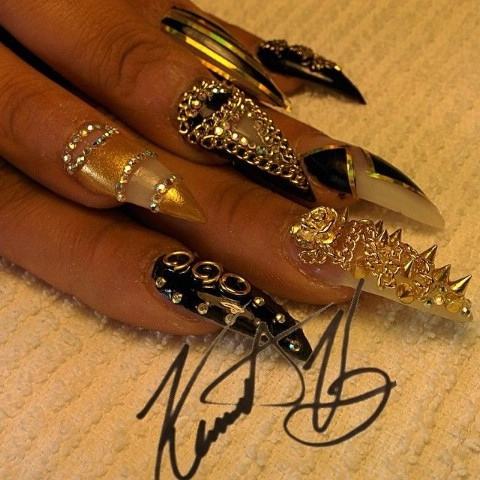 Embellished metallic nails