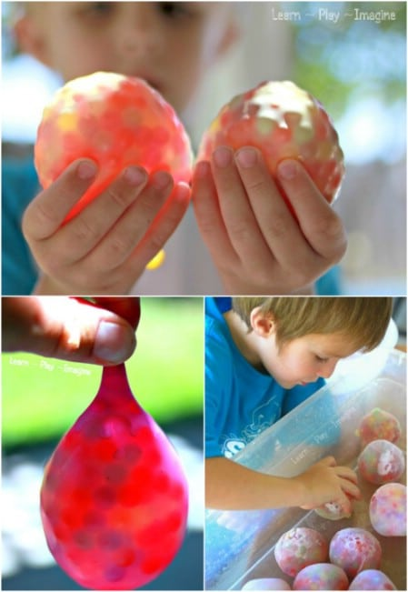 Freeze water beads inside balloons.