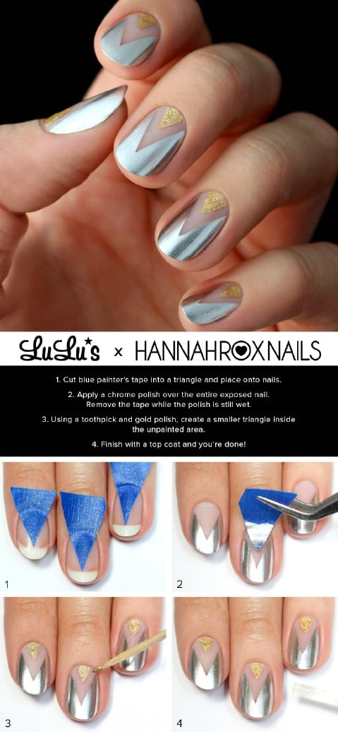 Gold and silver chevron nail tutorial