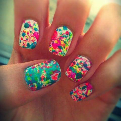 Neon nail splatter