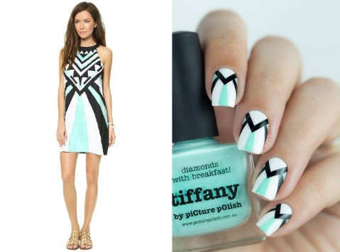 Mara Hoffman dress-inspired nails
