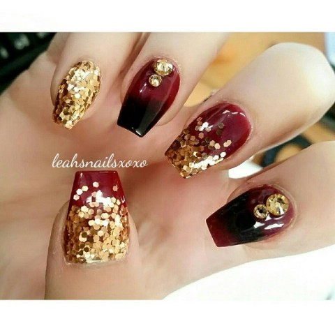 Elegance in black, maroon, and gold