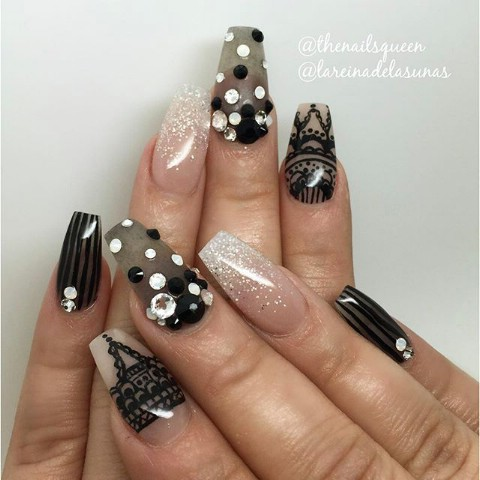 Monochromatic lacey nails