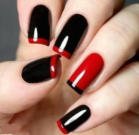 Black and red minimalism - Top 100 Most-Creative Acrylic Nail Art Designs And Tutorials - DIY